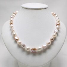 AAA GENUINE M/C BAROQUE PEARL INDIVIDUALLY HAND KNOTS NECKLACE 925 SILVER CLASP