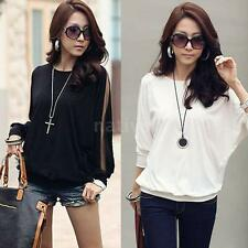 New Fashion Women's Ladies Blouse T-shirt Cotton Batwing Lace Sleeve Black/White
