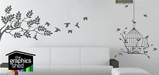 BIRD CAGE WALL ART STICKER DECAL TREE LEAFS WALL GRAPHIC  2 DESIGNS IN 1