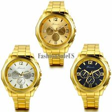 Men's Stainless Steel Band Luxury Decoration Dial Quartz Wrist Watch Gold Tone
