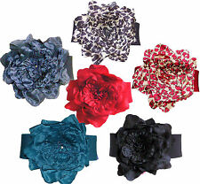 Ladies Girls Women Large Fabric Flower Clasp Waist Cinch Stretch Belt