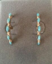 Zuni Needlepoint Lapis or Turquoise and 14kt Yellow Gold 1/2 Hoop Earrings (HS)