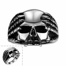 Men's 316L Stainless Steel Retro Silver Skull Punk Ring Vintage Gothic Jewelry