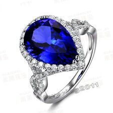 Lovers Pear Cut 5ct Sapphire cz 10KT White Gold Filled Wedding Ring Sz 5-11 Gift
