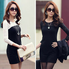 New Womens Sexy Slim Long Sleeve Crew Neck Party Cocktail Lace Mini Short Dress