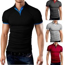 New Mens Polo Shirt T-Shirt Top Short Sleeve Contrast Colours M L XL PL02
