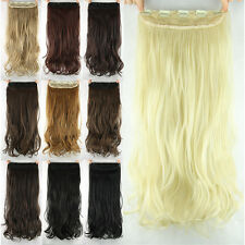 "New Women Girls Clip in on Hair extensions Synthetic Curly Long 23"" 60cm"