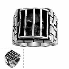 Men's 316L Stainless Steel Prison Black Skull Gothic Jewelry Vintage Punk Ring