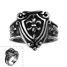 Men's 316L Stainless Steel Black Sword Shield Retro Lord Of Ring Vintage Jewelry