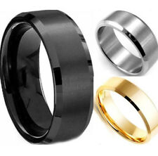 Gold Silver Plated Nero 8mm Anello Uomo Donna Stainless Stell Ring Oro argento