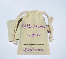 Personalized Mis 15 años Cotton Muslin Party Favor Bag Sweet 15 16 Quinceanera