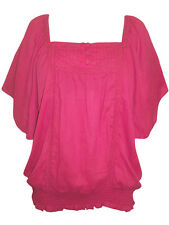 Womens size 18  Gypsy style Indian cotton top pin tuck /embroidery detail Cerise