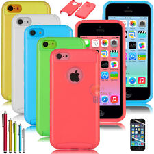 New Hybrid Rugged Impact Rubber Hard Case Cover For iPhone 5C C + Stylus+ Film