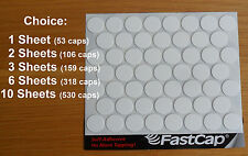 "1, 2, 3, 6 or 10 Sheets Fastcap 9/16"" White Peel & Stick Screw Covers 9/16 Inch"