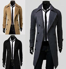 Fashion Mens Slim Fit Stylish Coat Winter Long Jacket Double Breasted Overcoat P