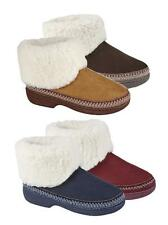 NEW LADIES FLEECY LINED SLIPPER BOOT EMBROIDERY STITCHING NAVY BURG BROWN TAN