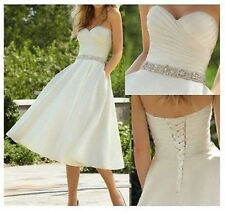 Stock White/Ivory Short Wedding Dress Formal Gown Bridesmaid Dress Size 6-16