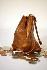 Medieval/Larp/SCA/Pagan/Reenactment Leather MOTTLED DRAWSTRING MONEY POUCH/BAG