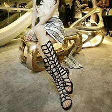 CUT OUT GLADIATOR SANDALS FLAT KNEE HIGH BOOTS LADIES WOMENS BEACH FLAT SHOES