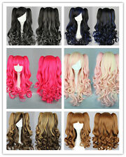 Fashion LOLITA Wig Cosplay Anime Curly Wavy Long Hair Wigs+2 Ponytail Color Mix
