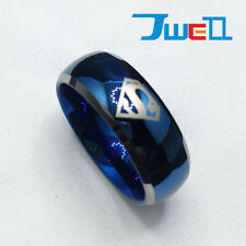 Superhero Super Man Blue 8mm Men's Tungsten Carbide Band Ring Laser Engraved
