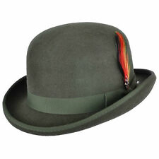 Quality OLIVE 100% Wool Bowler Hat with Removable Feather Satin Lined in 4sizes