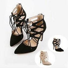 Womens Pointed Toe Lace Up Cut Out High Heels Pumps Solid Zip Back Casual Shoes