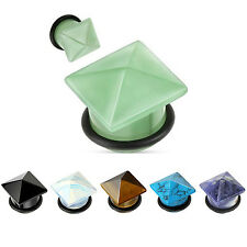 Ear Gauge Pyramid Shape Organic Natural Stone Ear Flesh Tunnel Plug Earlets 2pcs