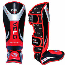 VELO Gel Shin Instep Pads MMA Leg Foot Guards Muay Thai Kick Boxing UFC MMA V5RB