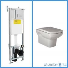 Toilet WC Wall Hung Mounted Bathroom Ceramic White Wall Hung Concealed Cistern