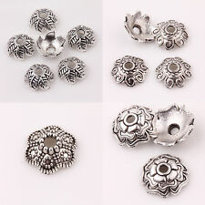 15/25PCS Tibet Silver Flower Charms Beads Caps Jewelry Findings
