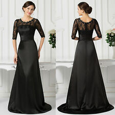 Sexy Long Dress Lace Satin Evening Formal Party Dress BLACK Bridesmaid Prom Gown