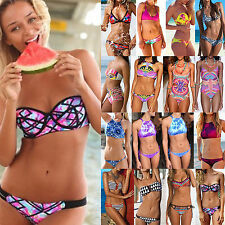 Frauen Bademode Bikini Set Push-Up Triangel Bandeau badeanzug Swimwear 38 40 42