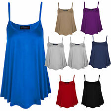 Womens Plain Swing Ladies Cami Strappy Flared Vest Sleeveless Top Plus Size UK