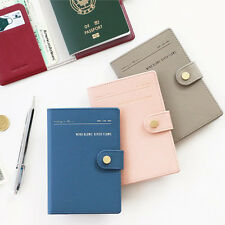 Simple Button Closure Anti Skimming Passport Holder Cover Case Travel Wallet