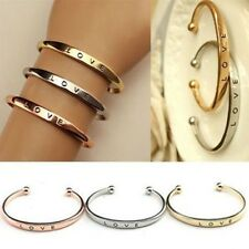 Fashion Women Stainless Steel Screw Letter Printed Cuff Bangle Bracelet Gift