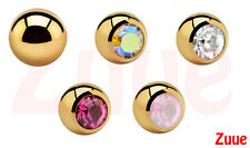 SPARE 1.6mm GOLD PLATED 24ct 24kt HYPOALLERGENIC BODY JEWELLERY BALLS BELLY BAR