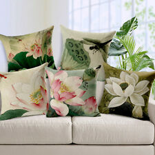 "Cushion Cover Decorative 17"" Chinese Flowers Lotus  Cotton Linen Pillow Case"