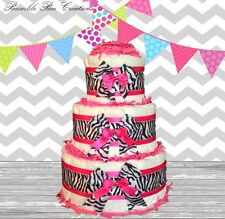 Hot Pink Black & White Zebra Print 3 Tier Diaper Cake Simple / Baby Shower Gift
