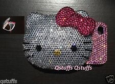 3D hello kitty Compact mirror iPhone crystal case bling diamond cover Hot Pink