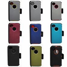 iPhone 4/4S Defender Protective Series Cover Case w/Clip & Screen Protector