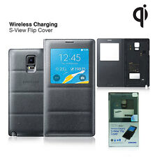 Wireless Charging S-View Flip Cover Case For Samsung Galaxy Note 4