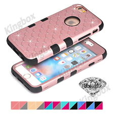 Heavy Duty Soft Rubber Bling Crystals Rhinestone Hard PC Case Cover For iPhone