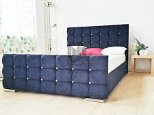 Upholstered Black Chenille Bed Frame All Colours And Sizes Diamante Made In UK