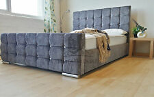 Florence Upholstered Grey Chenille Bed Frame All Colours & Sizes Made In UK