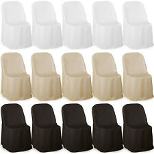 Premium Folding Poly Chair Covers For Wedding Party Decorations Metal Plastic