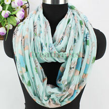 Trendy Fashion Owl Bear Branch Print Infinity 2-Loop Cowl Scarf Soft Voile Wrap