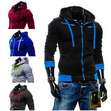 Men's Stylish Slim Fit Warm Hooded Sweatshirt Zipper Coat Jacket Outwear Sweater