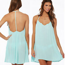 CHIFFON SUMMER BEACH DRESS CHOOSE COLOUR - ONE SIZE TO FIT UK 6-10 UK SELLER
