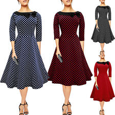 Vintage Style Rockabilly Polka Dots Swing 50s 60s Pinup Prom Tea Housewife Dress